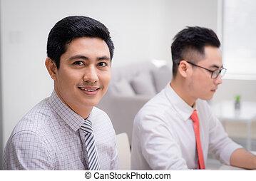 to, mænd branche, arbejde hos, pc., ind, kontor