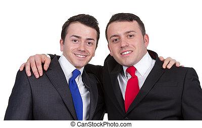to mænd, sammen