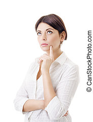 to make a decision - portrait of a young woman in a white...