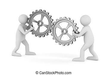 to, mand, hos, gears., isoleret, 3, image