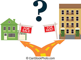 A road fork leads to a house for sale or to an apartment building with a sign for rent, vector illustration