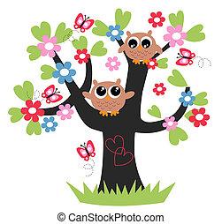 to, sød, brun, ugler, ind, en, træ