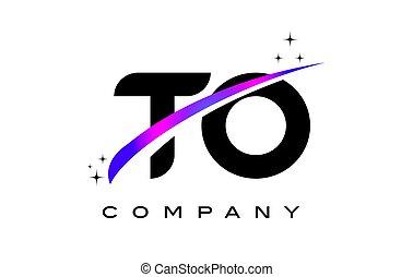 TO T O Black Letter Logo Design with Purple Magenta Swoosh