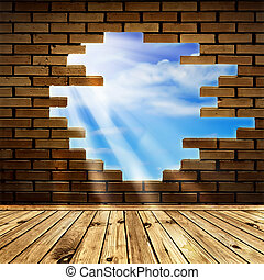to the freedom! - blue sky with sunlight through the hole in...
