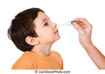 To the little boy drops in a nose drip