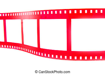 To the movies - Red film strip isolated on a white ...