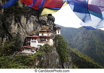 To the sky - Prayer flags above the sacred Tatkshang...