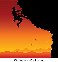To the Top - A man climbing a mountain in the sunset. ...