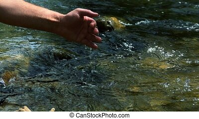 To touch the river - The man touches the water in the river....
