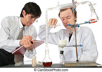 to, videnskabsmænd, gør, kemisk, experiment