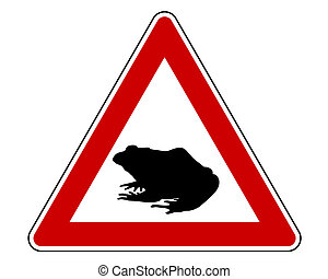 Toad migration warning sign