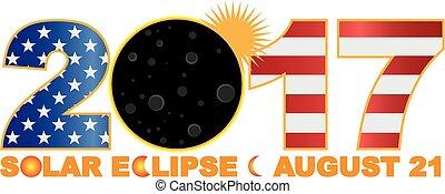toal, usa, sur, éclipse, illustration, solaire, chiffre, 2017