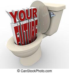 toaleta, horyzont, ryzyko, na dół, przyszłość, spłukiwanie,...