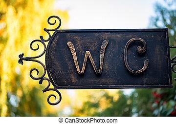 toaleta, znak, dla, mężczyzna i kobieta, w, retro tytułują