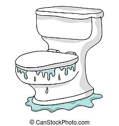toalett, översvämmande