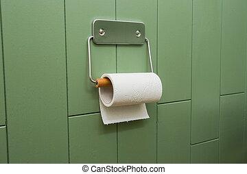 toalett, badrum, neatly, krom, mjuk, nymodig, wall., papper, grön, hängande, vit, innehavare, rulle