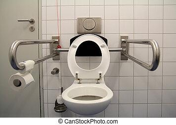 toalett, för, handikappad