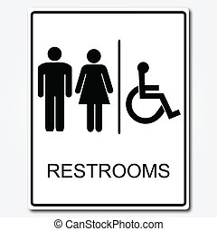 toalett, illustration, underteckna