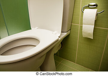 toalett, säte, och, papper, in, badrum