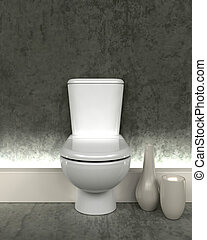 toalett, samtidig, render, 3