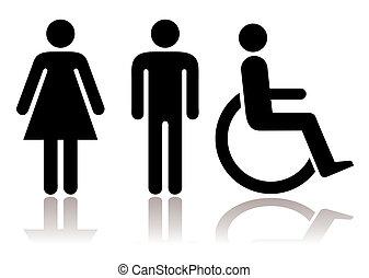 toalett, symboler, handikappad