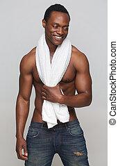 toalha, americano, africano, excitado, homem sorridente