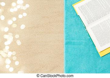 toalha, areia, livro, praia