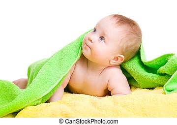 toalha, cima, olhar, verde, bebê, adorável