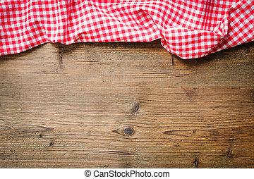 toalha de mesa, ligado, tabela madeira