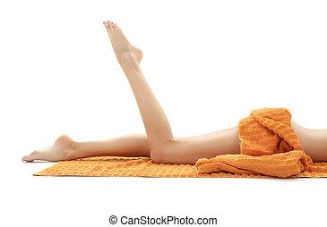 toalha, relaxado, longo, laranja, #2, pernas, senhora