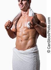 toalha, seção, meio, muscular, branca, shirtless, homem