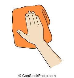 toalha, segurando mão