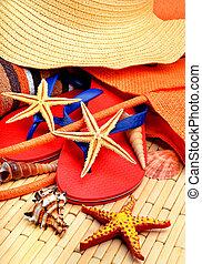 toalha, sliipers, starfish, madeira, chapéu, praia