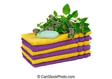 toalhas, com, fresco, mentha, (, spa, conceito