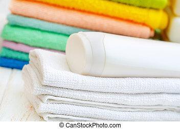 toalhas, e, shampoo
