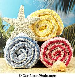 toalhas, e, starfish