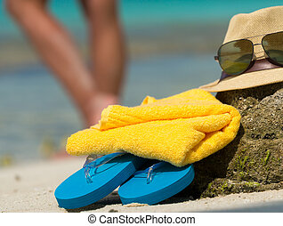 toalla, paja, sol, capirotazo, tropical, sombrero, fracasos, playa, anteojos