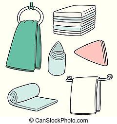 toalla, vector, conjunto, mano