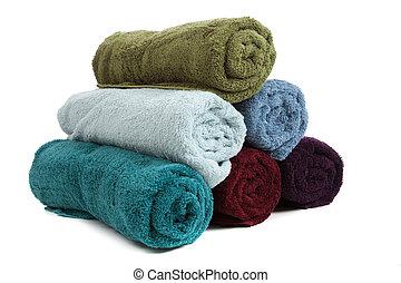 toallas, blanco, fondo coloreado, pila