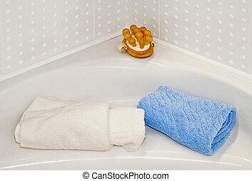toallas, y, masaje