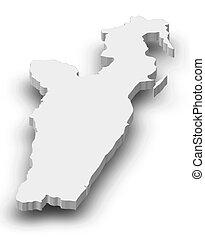 toamasina, landkarte, 3d-illustration, -, (madagascar)