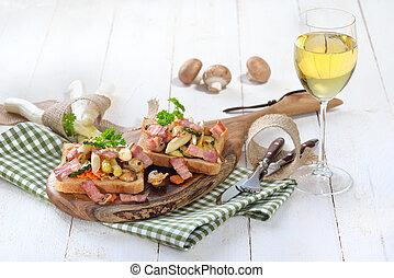 Toasdt with asparagus and bacon
