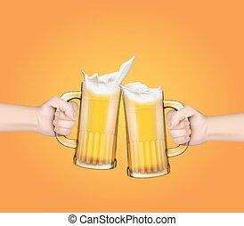 toast, élevé, grandes tasses, fête, verre, bière, tenant mains