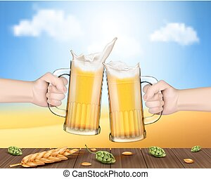 toast, élevé, grandes tasses, verre, bière, tenant mains