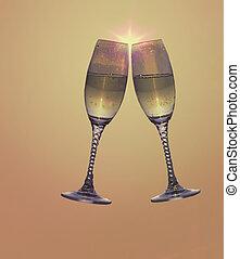 Toast - 2 champagne glasses toasting