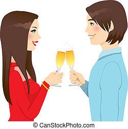 toast, amour, anniversaire