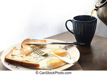 Toast and eggs with copy space