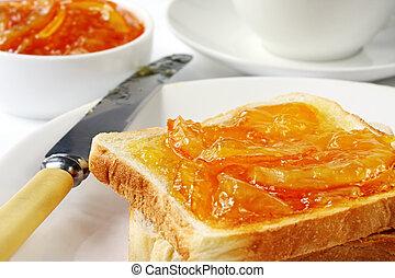 Toast and Marmalade - Toast with home-made orange marmalade...