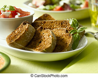 toast and tomato - some crispy crutons withe frech cut...