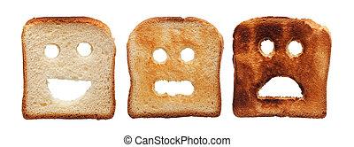 toast, brûlé, différemment, pain